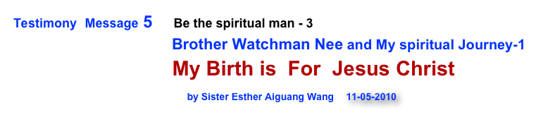 Testimony  Message 5      Be the spiritual man - 3
