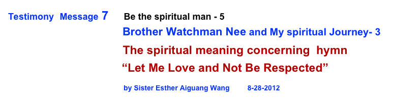 Testimony  Message 7      Be the spiritual man - 5